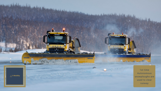 1st time Autonomous snowploughs are used to clear runway